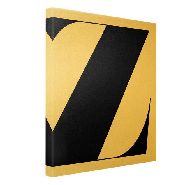 Leinwandbild Gold - Antiqua Letter Z - Hochformat 3:4