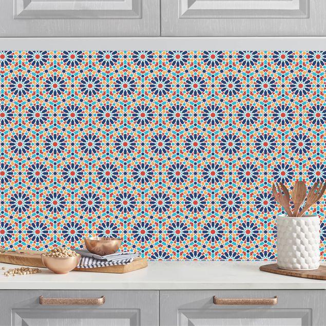 Küchenrückwand - Orientalisches Muster mit bunten Sternen