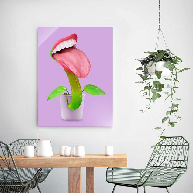 Glasbild - Jonas Loose - Fleischfressende Pflanze mit Mund - Hochformat 4:3