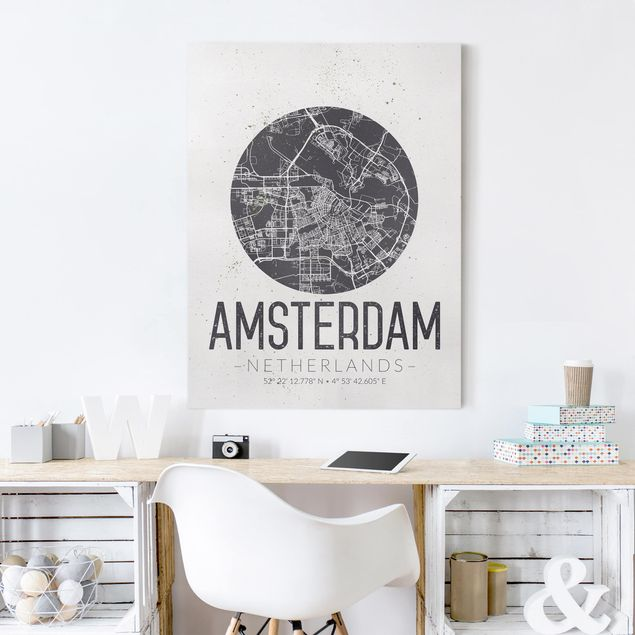Leinwandbild - Stadtplan Amsterdam - Retro - Hochformat 4:3