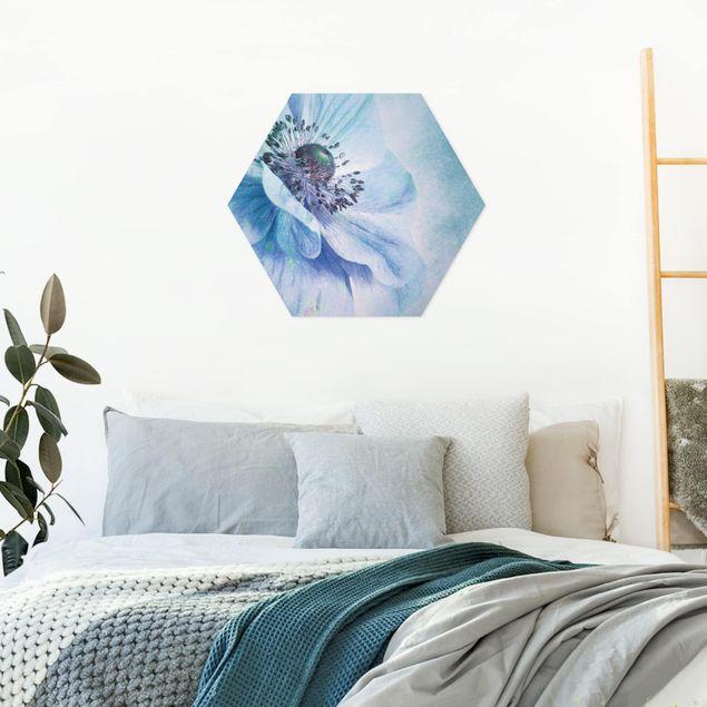 Hexagon Bild Alu-Dibond - Blüte in Türkis