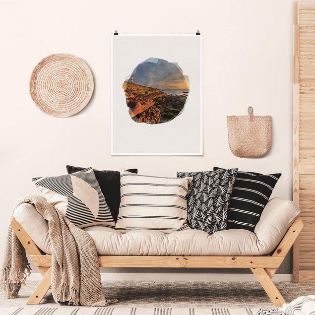 Poster - Wasserfarben - Tarbat Ness Meer & Leuchtturm bei Sonnenuntergang - Hochformat 4:3