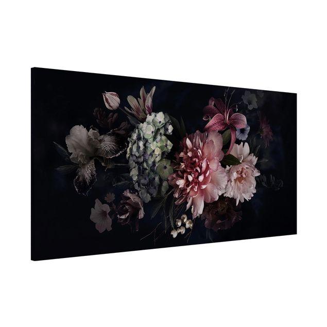 Magnettafel - Blumen mit Nebel auf Schwarz - Memoboard Panorama Querformat 1:2