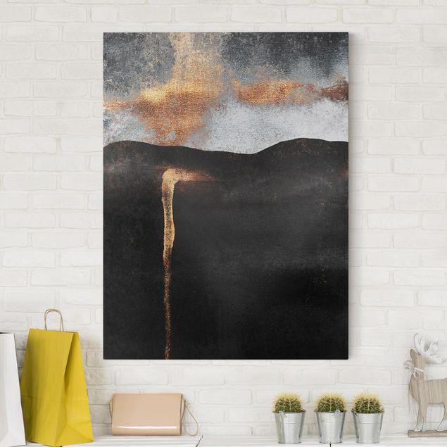 Leinwandbild - Abstrakte goldene Glut - Hochformat 4:3
