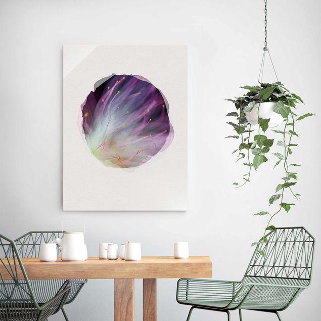 Glasbild - Wasserfarben - Blütenstaub - Hochformat 4:3