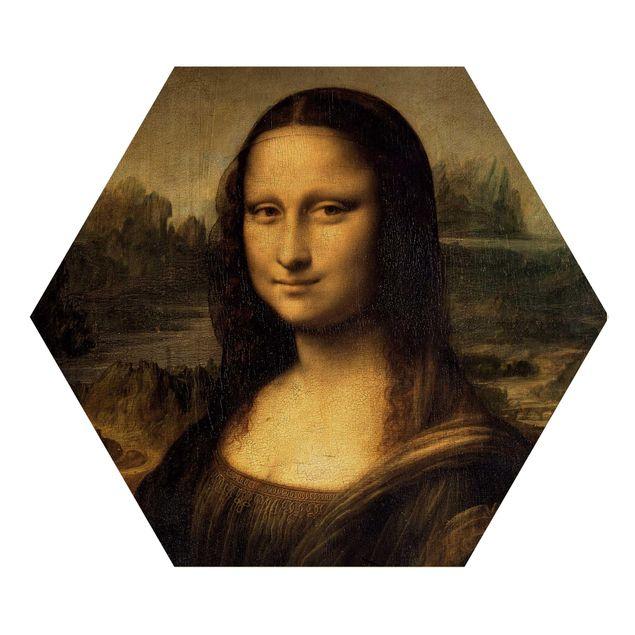 Hexagon Bild Holz - Leonardo da Vinci - Mona Lisa