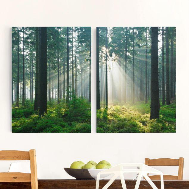 Leinwandbild 2-teilig - Enlightened Forest - Hoch 3:4