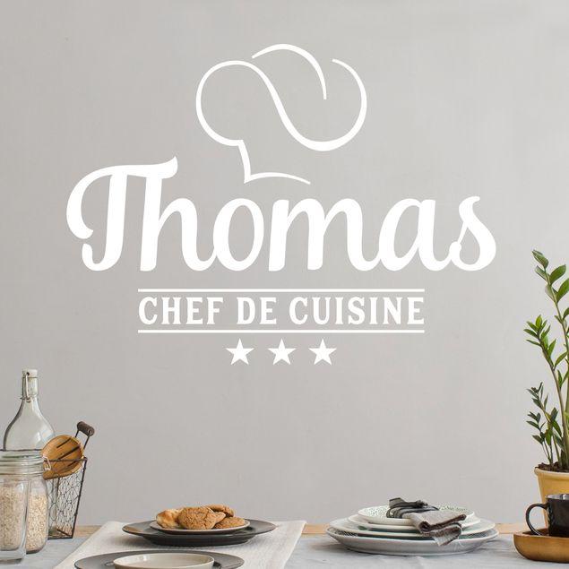 Wandtattoo mit Wunschtext - Chef de Cuisine mit Wunschname