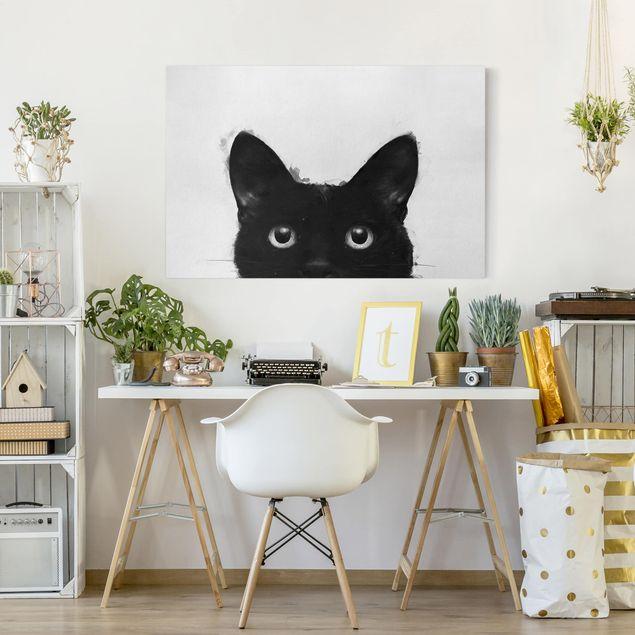Leinwandbild - Illustration Schwarze Katze auf Weiß Malerei - Querformat 2:3