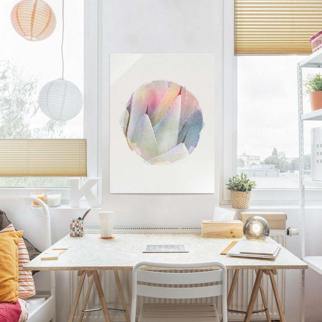 Glasbild - Wasserfarben - Agavenblätter - Hochformat 4:3