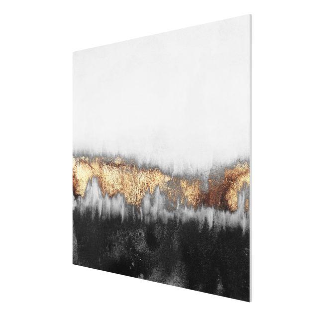 Forex Fine Art Print - Goldspuren in Aquarell - Quadrat 1:1