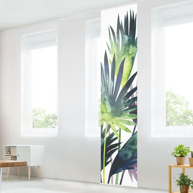 Schiebegardinen Set - Exotisches Blattwerk - Fächerpalme - Flächenvorhang