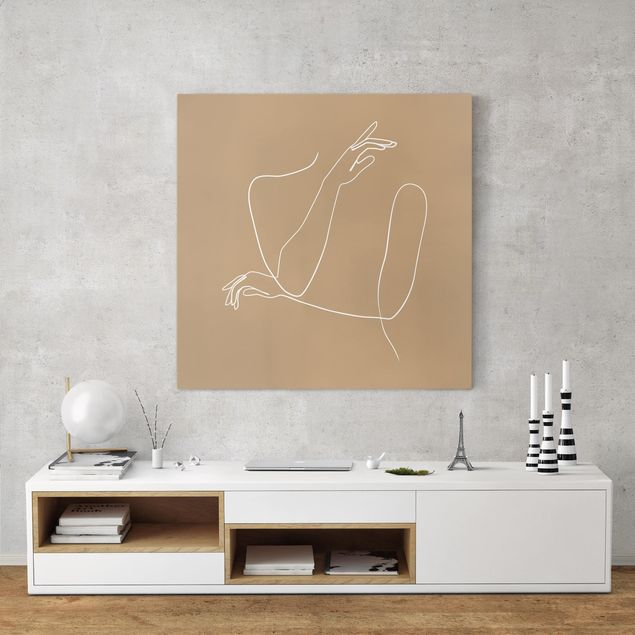 Leinwandbild - Line Art Hände Frau Beige - Quadrat 1:1