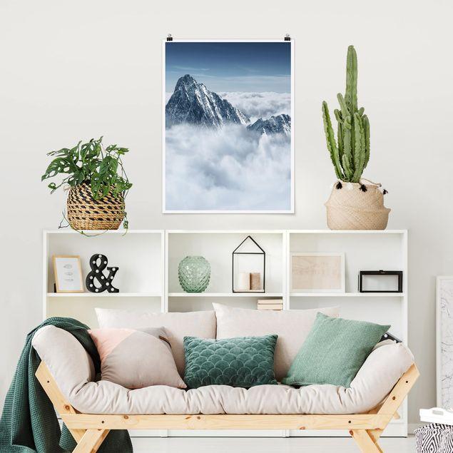 Poster - Die Alpen über den Wolken - Hochformat 3:4