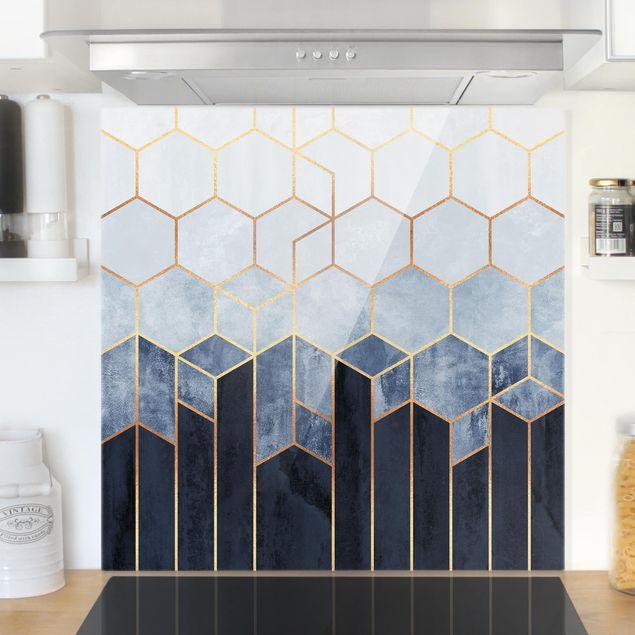 Glas Spritzschutz - Goldene Sechsecke Blau Weiß - Quadrat - 1:1