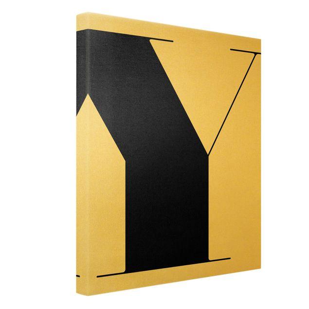 Leinwandbild Gold - Antiqua Letter Y - Hochformat 3:4