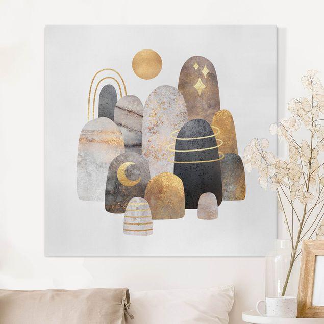 Leinwandbild - Elisabeth Fredriksson - Gold Berge mit Mond - Quadrat 1:1