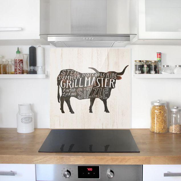Glas Spritzschutz - Bauernhof BBQ - Rind - Quadrat - 1:1