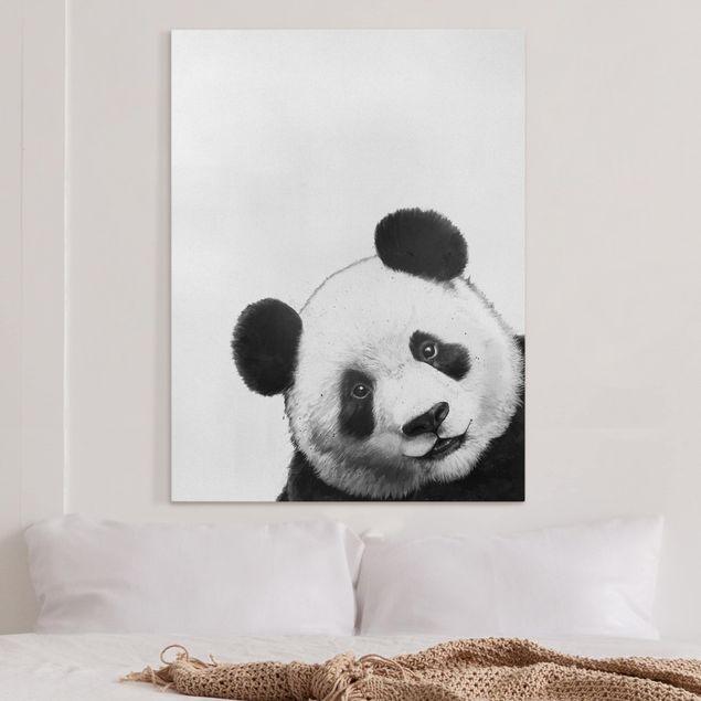 Leinwandbild - Illustration Panda Schwarz Weiß Malerei - Hochformat 4:3