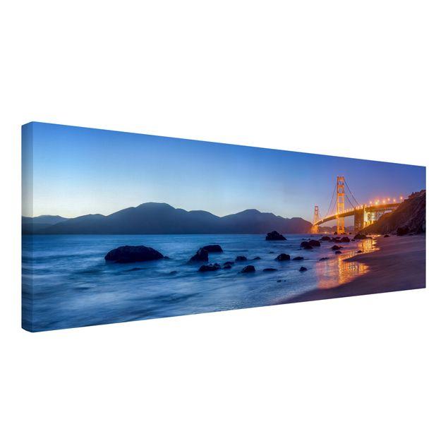 Leinwandbild - Golden Gate Bridge am Abend - Panorama 3:1