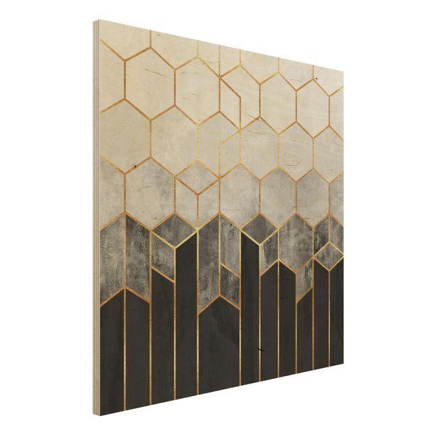 Holzbild - Goldene Sechsecke Schwarz Weiß - Quadrat 1:1