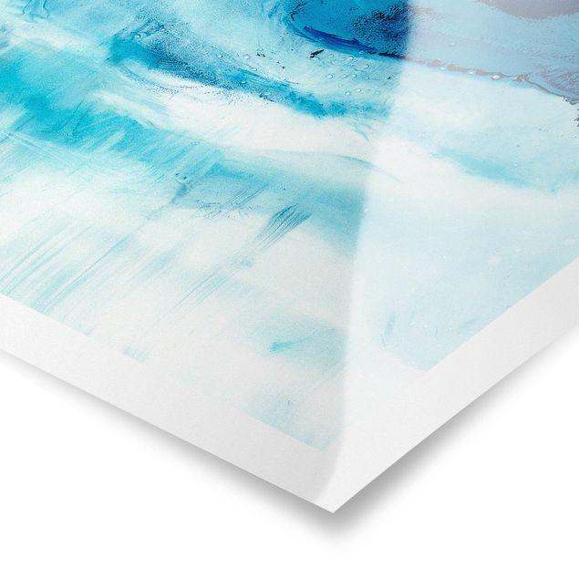 Poster - Blaue Strömung I - Hochformat 3:4
