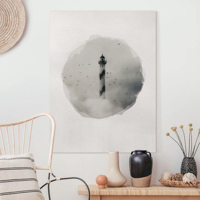 Leinwandbild - Wasserfarben - Leuchtturm im Nebel - Hochformat 4:3