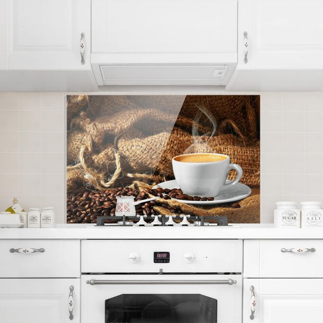 Spritzschutz Glas - Kaffee am Morgen - Querformat - 3:2