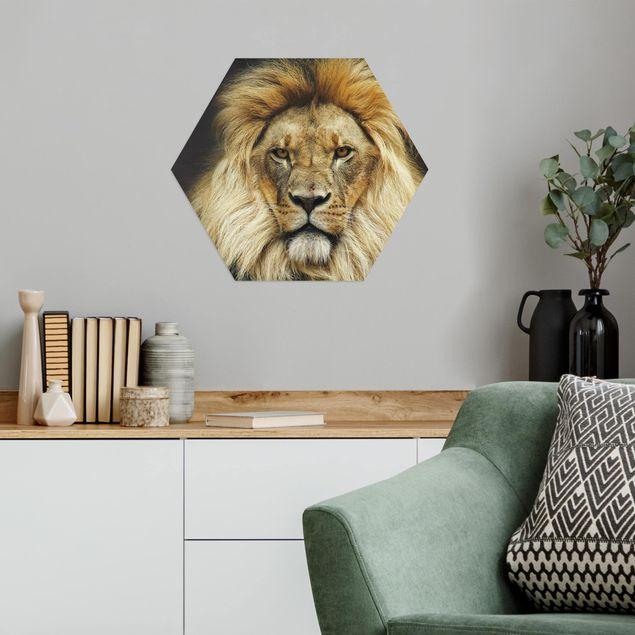 Hexagon Bild Alu-Dibond - Wisdom of Lion