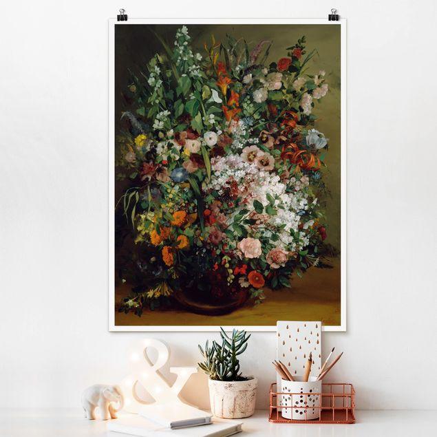 Poster - Gustave Courbet - Blumenstrauß in Vase - Hochformat 3:4