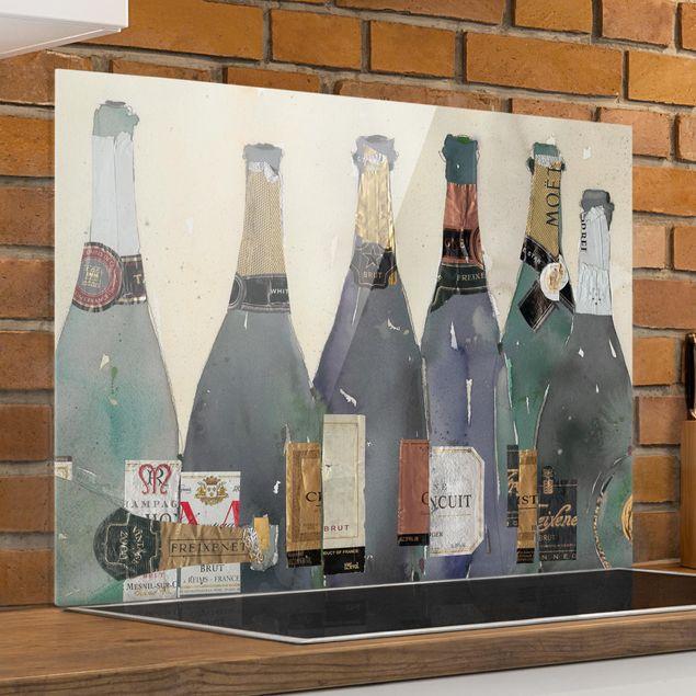 Glas Spritzschutz - Entkorkt - Champagner - Querformat - 4:3