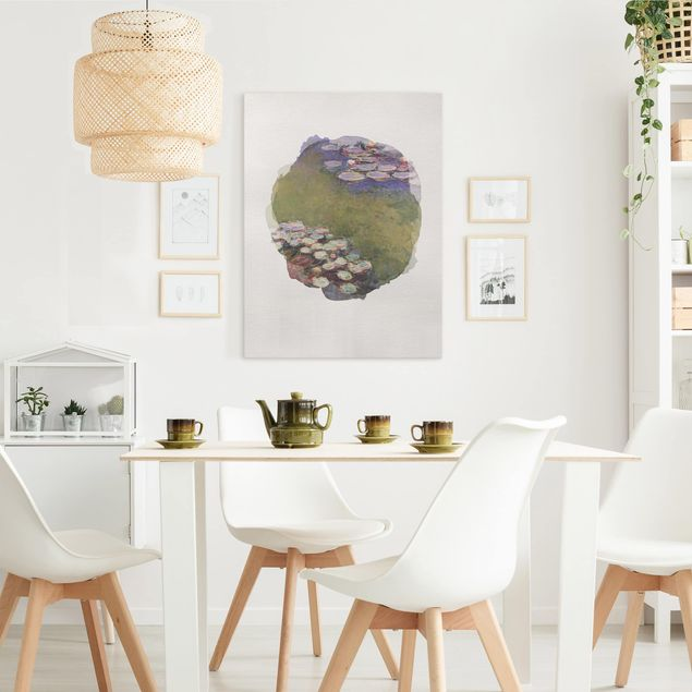 Leinwandbild - Wasserfarben - Claude Monet - Seerosen - Hochformat 4:3