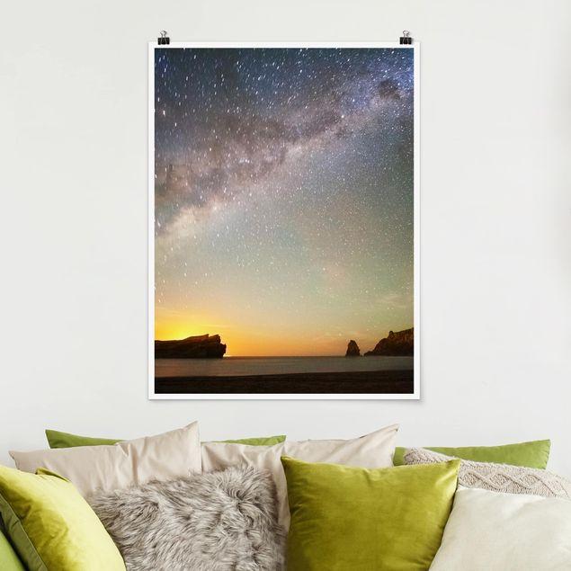 Poster - Sternenhimmel über dem Meer - Hochformat 3:4
