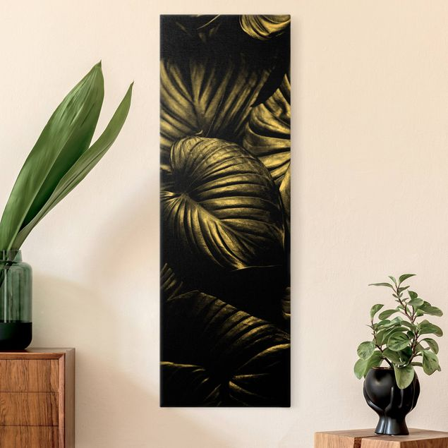 Leinwandbild Gold - Schwarz Weiß Botanik Hosta - Hochformat 1:3