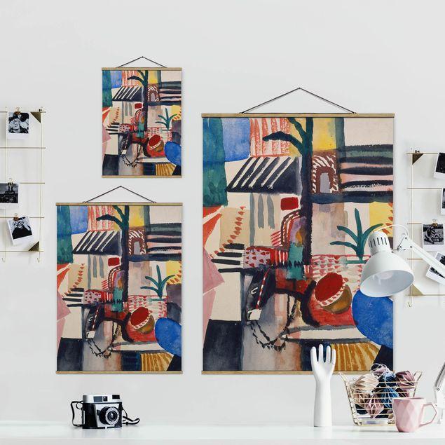 Stoffbild mit Posterleisten - August Macke - Mann mit Esel - Hochformat 3:4