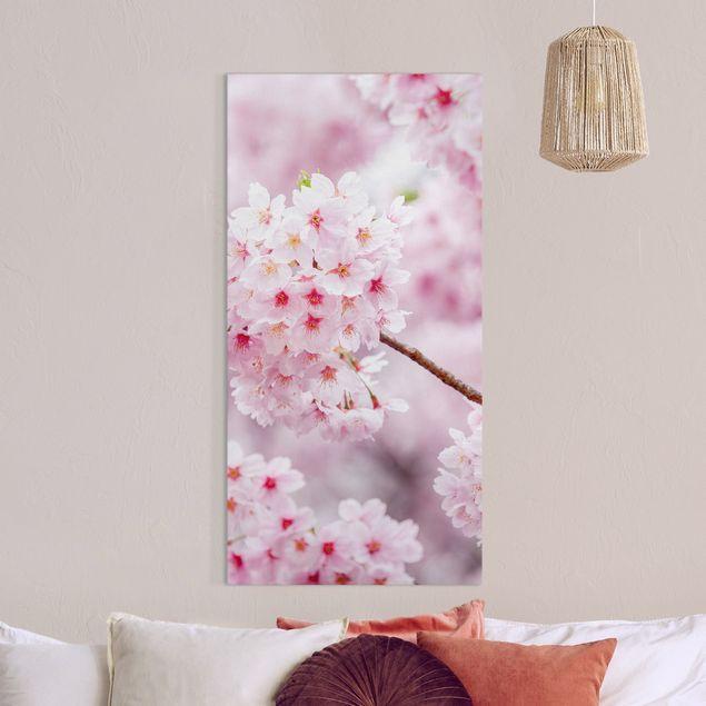 Leinwandbild - Japanische Kirschblüten - Hochformat 1:2