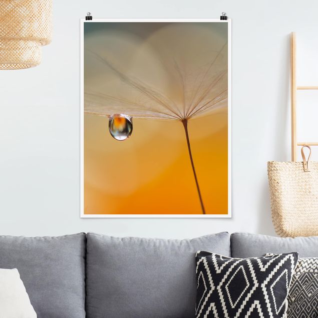 Poster - Pusteblume in Orange - Hochformat 3:4