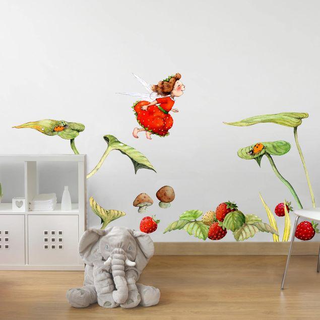 Wandsticker Erdbeerinchen Erdbeerfee - Blätter und Erdbeeren
