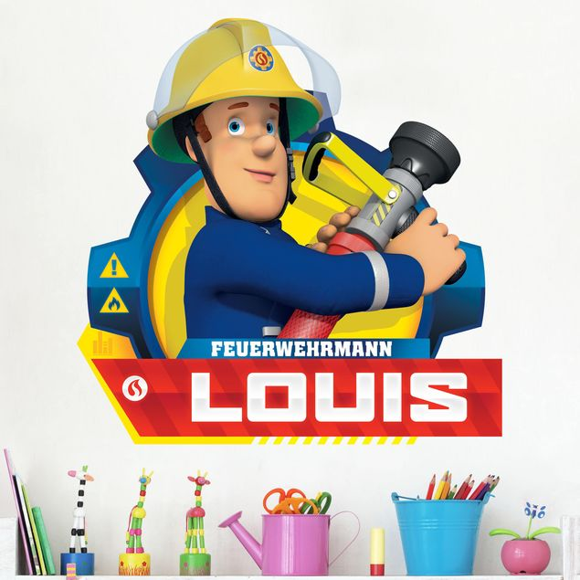 Wunschtext-Wandtattoo Feuerwehrmann Sam - mit Wunschnamen