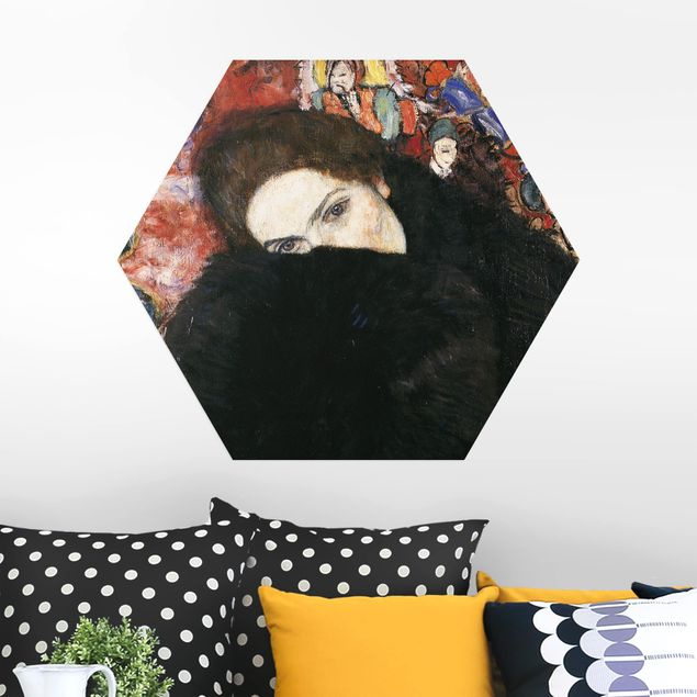 Hexagon Bild Alu-Dibond - Gustav Klimt - Dame mit Muff