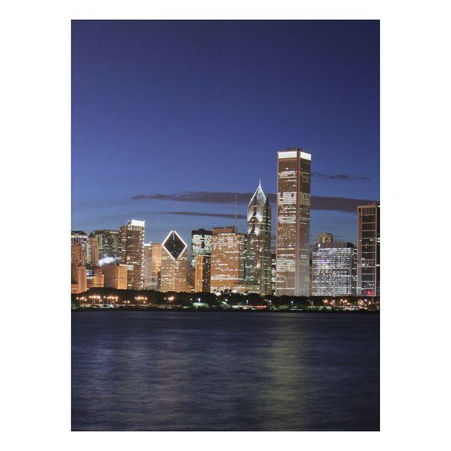 Alu-Dibond Bild - Chicago Skyline bei Nacht