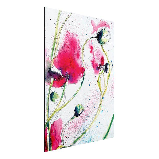 Alu-Dibond Bild - Painted Poppies
