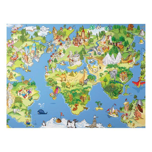 Alu-Dibond Bild - Great and Funny Worldmap