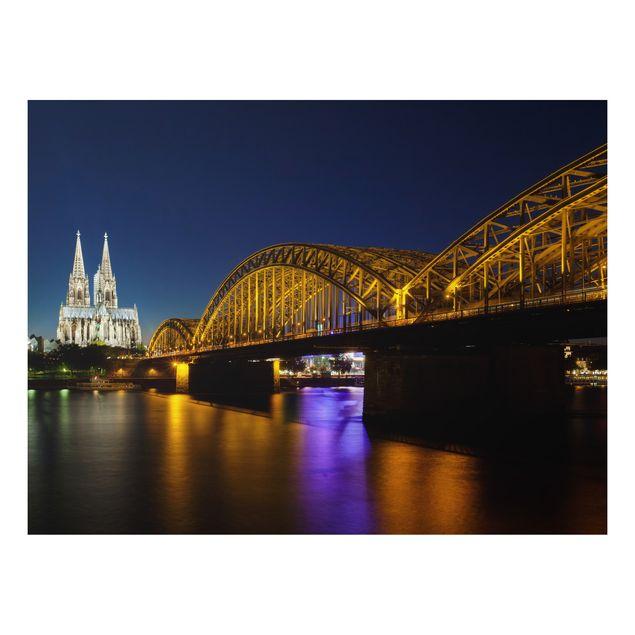 Alu-Dibond Bild - Köln bei Nacht