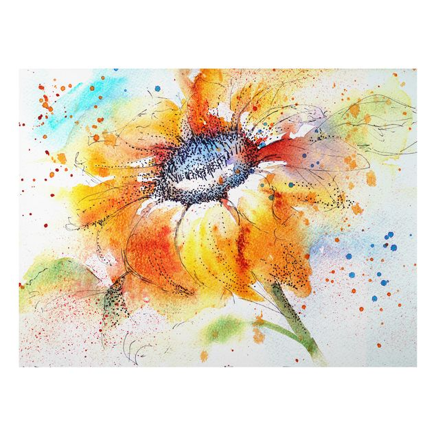 Alu-Dibond Bild - Painted Sunflower