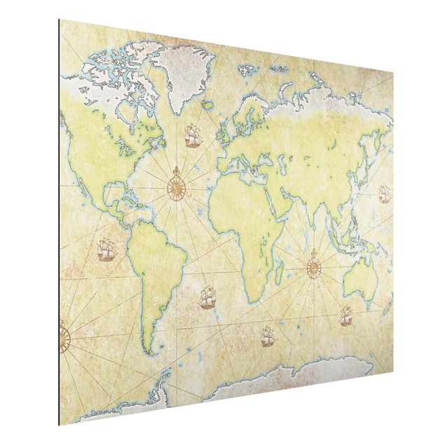 Alu-Dibond Bild - World Map