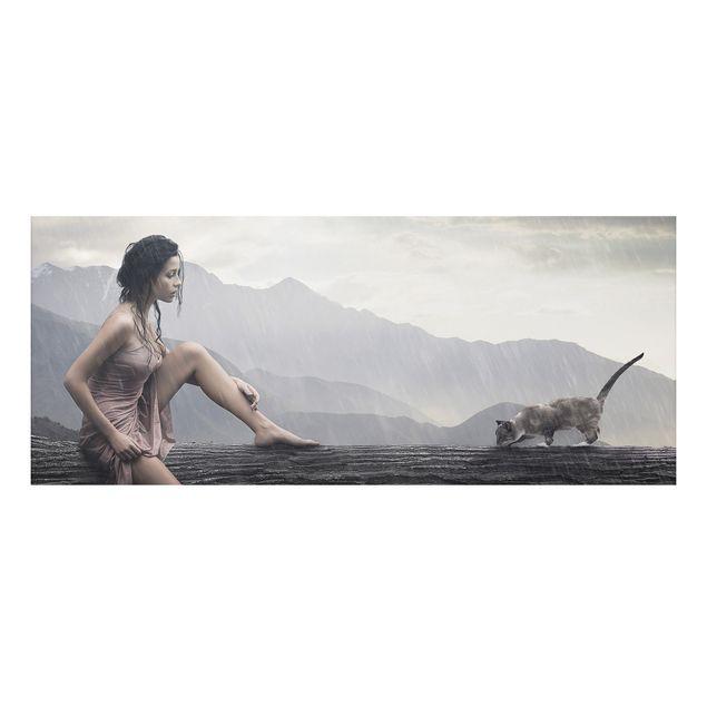 Alu-Dibond Bild - Jane in the Rain