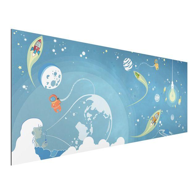 Alu-Dibond Bild - Buntes Weltraumtreiben