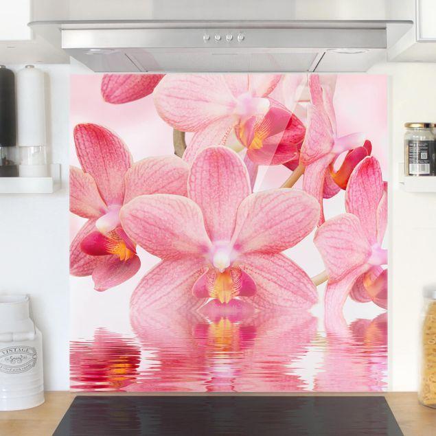 Glas Spritzschutz - Rosa Orchideen auf Wasser - Quadrat - 1:1