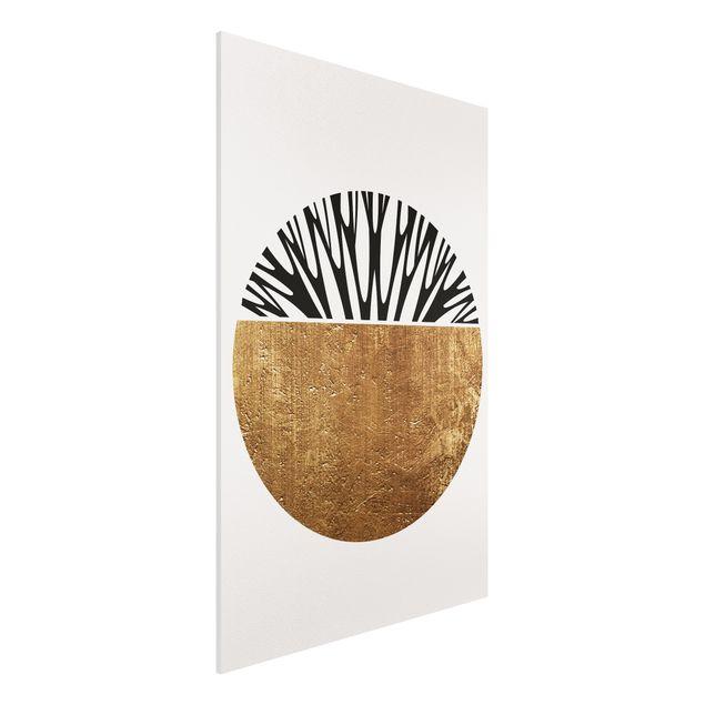 Forex Fine Art Print - Abstrakte Formen - Goldener Kreis - Hochformat 3:2